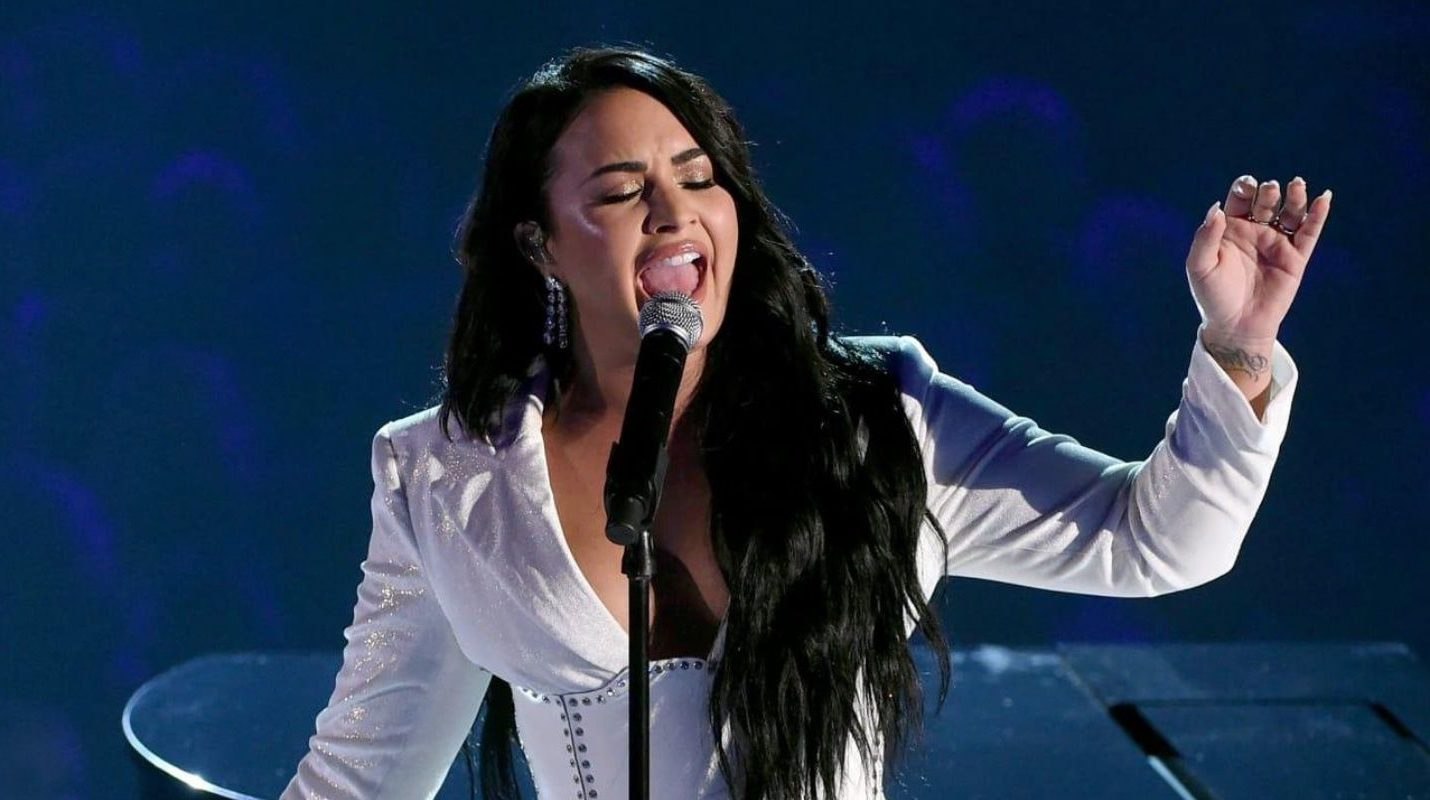 Demi Lovato chokes up on the 2020 Grammys stage during performance