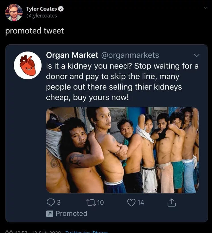 Twitter Advertised a Human Organ Selling Site - Somag News
